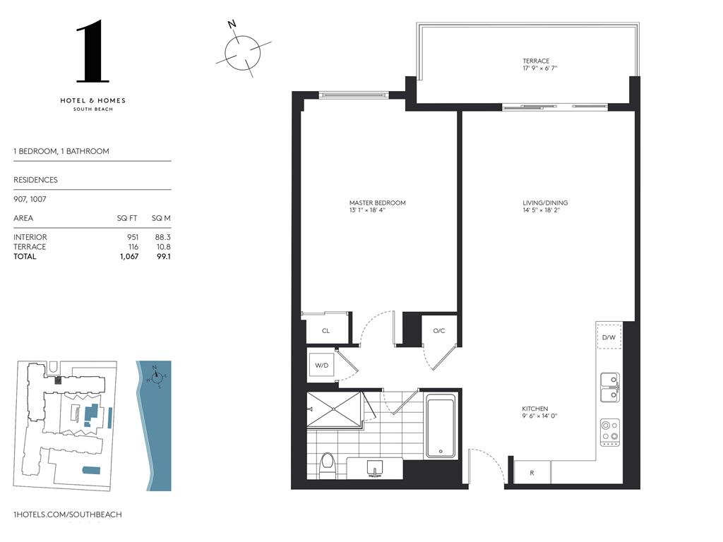 1 Hotel & Homes South Beach - Unit #907,1007  with 951 SF