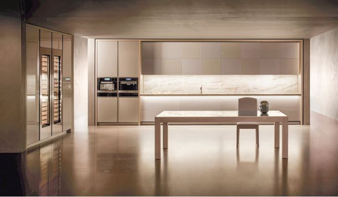 European-designed cabinetry with imported stone counter-tops & back-splashes