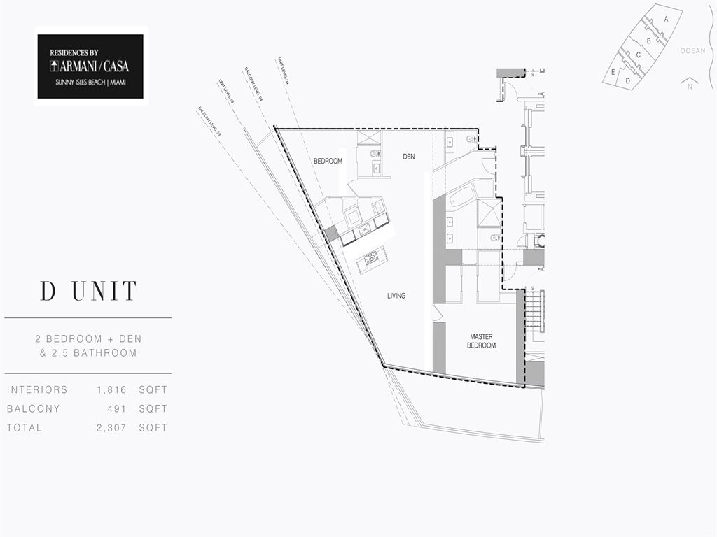 Armani Residences - Unit #D - Level 4 with 1816 SF