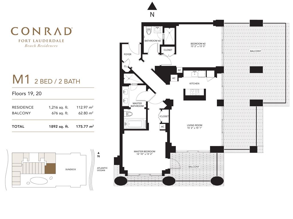 Conrad Fort Lauderdale Beach Residences - Unit #M1 Floors 19,20 with 1216 SF