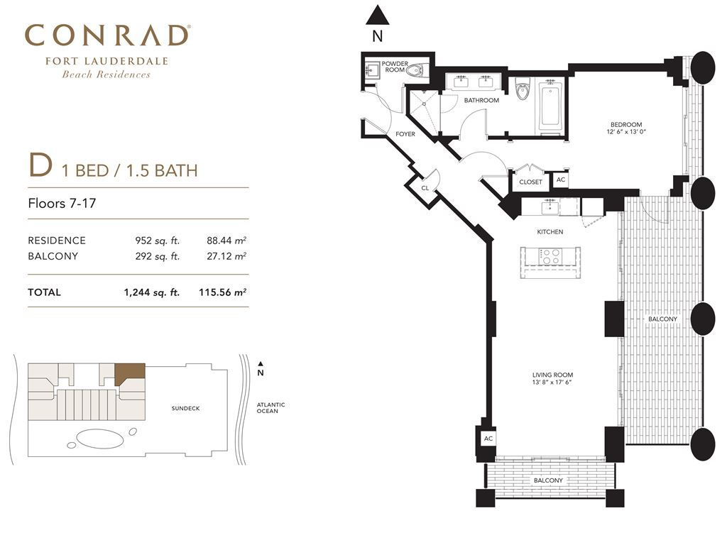 Conrad Fort Lauderdale Beach Residences - Unit #D Floors 7-17 with 952 SF