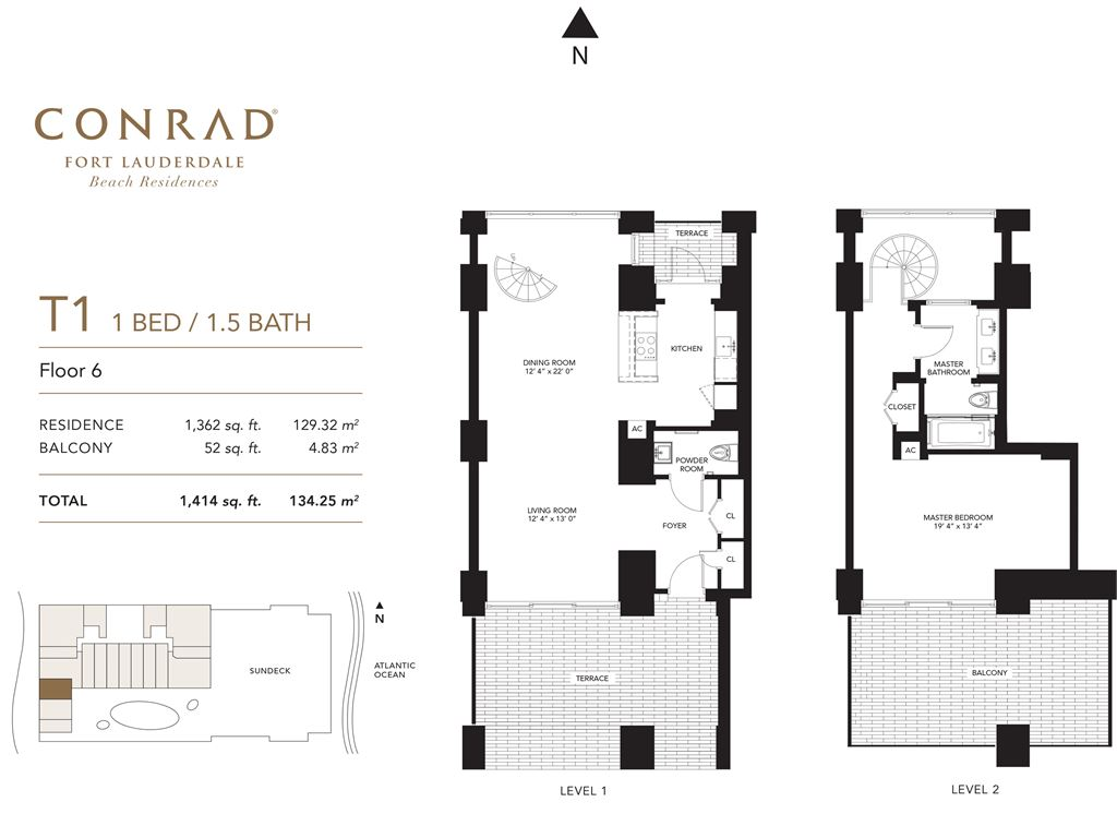 Conrad Fort Lauderdale Beach Residences - Unit #T1 Floor 6 with 1362 SF