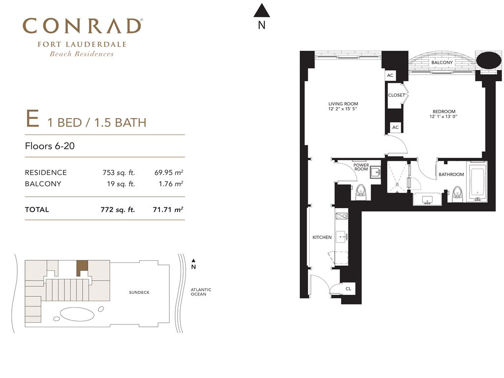 Conrad Fort Lauderdale Beach Residences - Unit #E Floors 6-20 with 753 SF