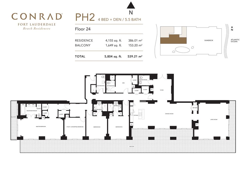 Conrad Fort Lauderdale Beach Residences - Unit #PH2 Floor 24 with 4155 SF