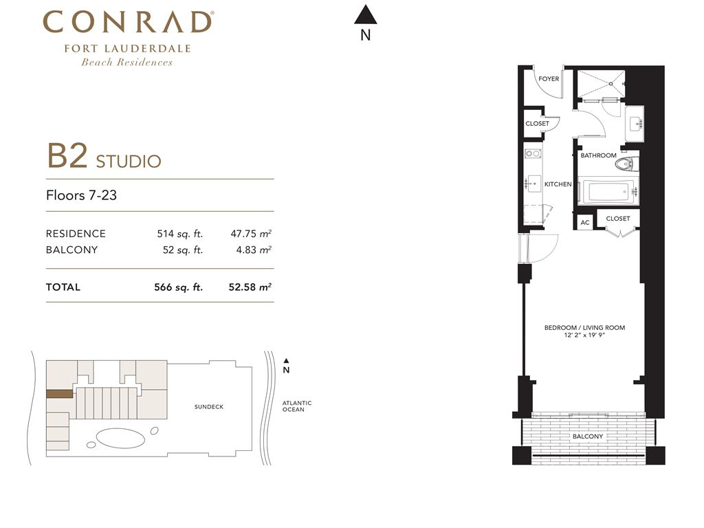 Conrad Fort Lauderdale Beach Residences - Unit #B2 Floors 7-23 with 514 SF