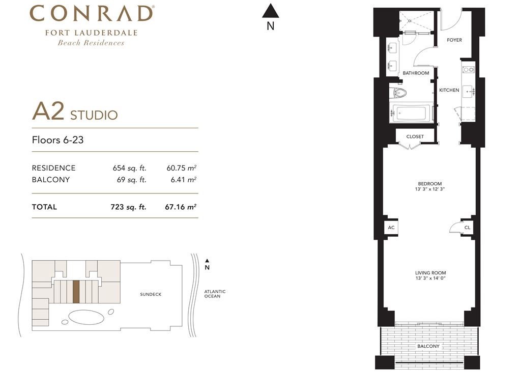 Conrad Fort Lauderdale Beach Residences - Unit #A2 Floors 6-23 with 654 SF