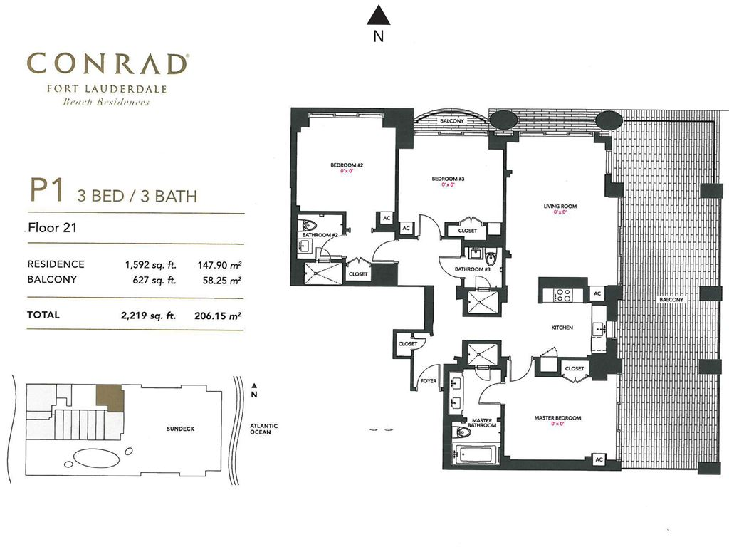 Conrad Fort Lauderdale Beach Residences - Unit #P1 Floor 21 with 1592 SF