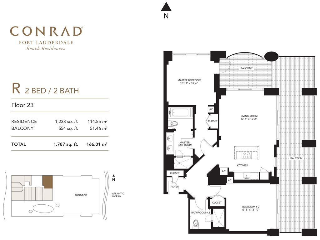 Conrad Fort Lauderdale Beach Residences - Unit #R Floor 23 with 1233 SF