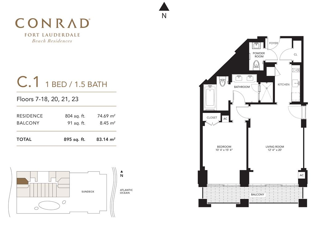 Conrad Fort Lauderdale Beach Residences - Unit #C1 Floors 7-18, 20, 21, 23 with 804 SF