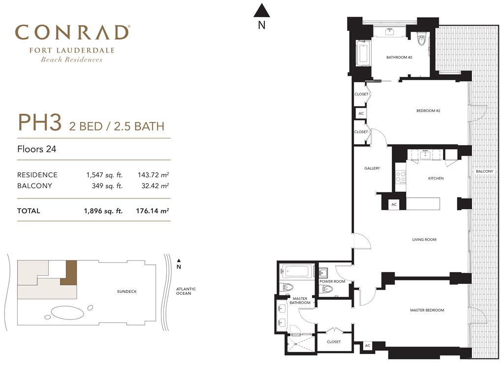 Conrad Fort Lauderdale Beach Residences - Unit #PH3 Floor 24 with 1547 SF