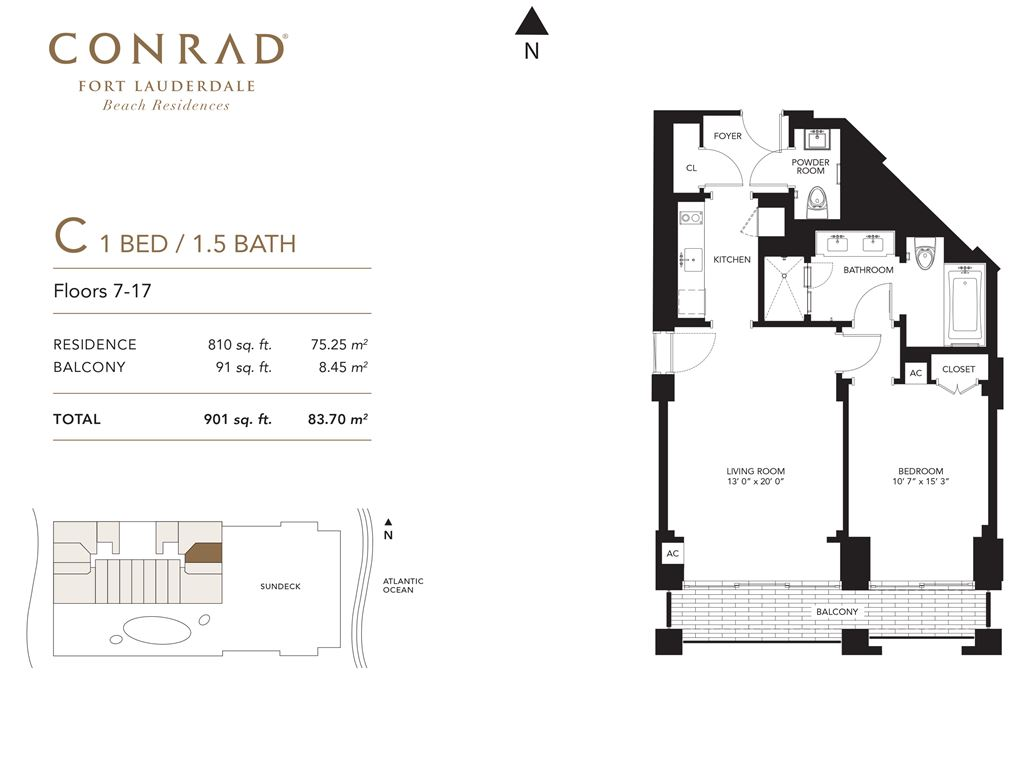 Conrad Fort Lauderdale Beach Residences - Unit #C Floors 7-17 with 810 SF