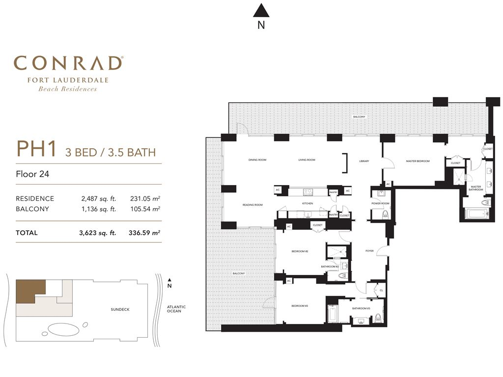 Conrad Fort Lauderdale Beach Residences - Unit #PH1 Floor 24 with 2487 SF