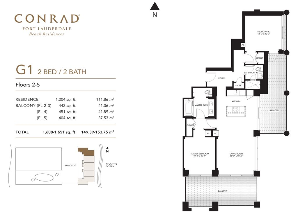 Conrad Fort Lauderdale Beach Residences - Unit #G1 Floors 2-5 with 1204 SF