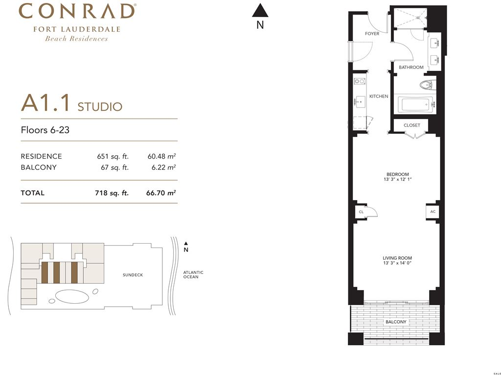 Conrad Fort Lauderdale Beach Residences - Unit #A1 Floors 6-23 with 651 SF