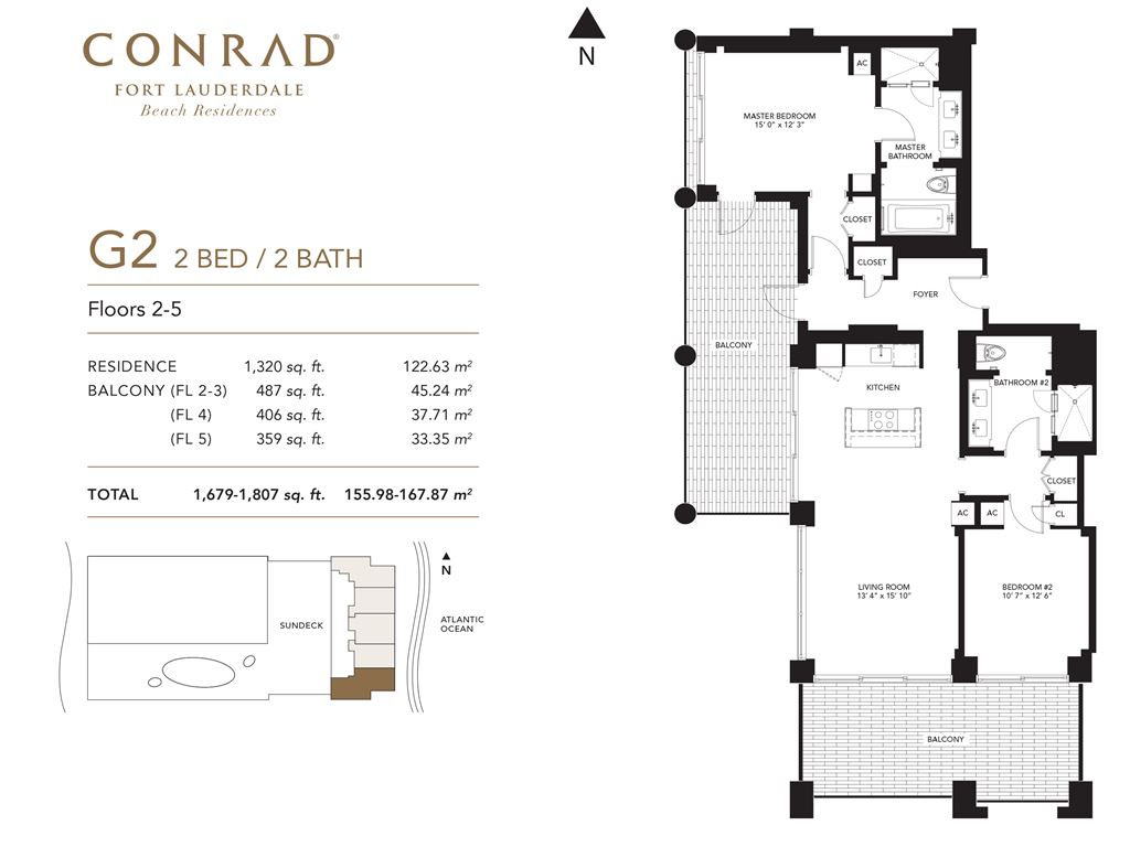 Conrad Fort Lauderdale Beach Residences - Unit #G2 Floors 2-5 with 1320 SF