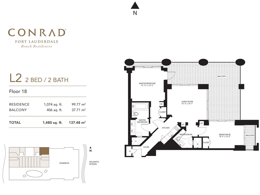 Conrad Fort Lauderdale Beach Residences - Unit #L2 Floor 18 with 1074 SF