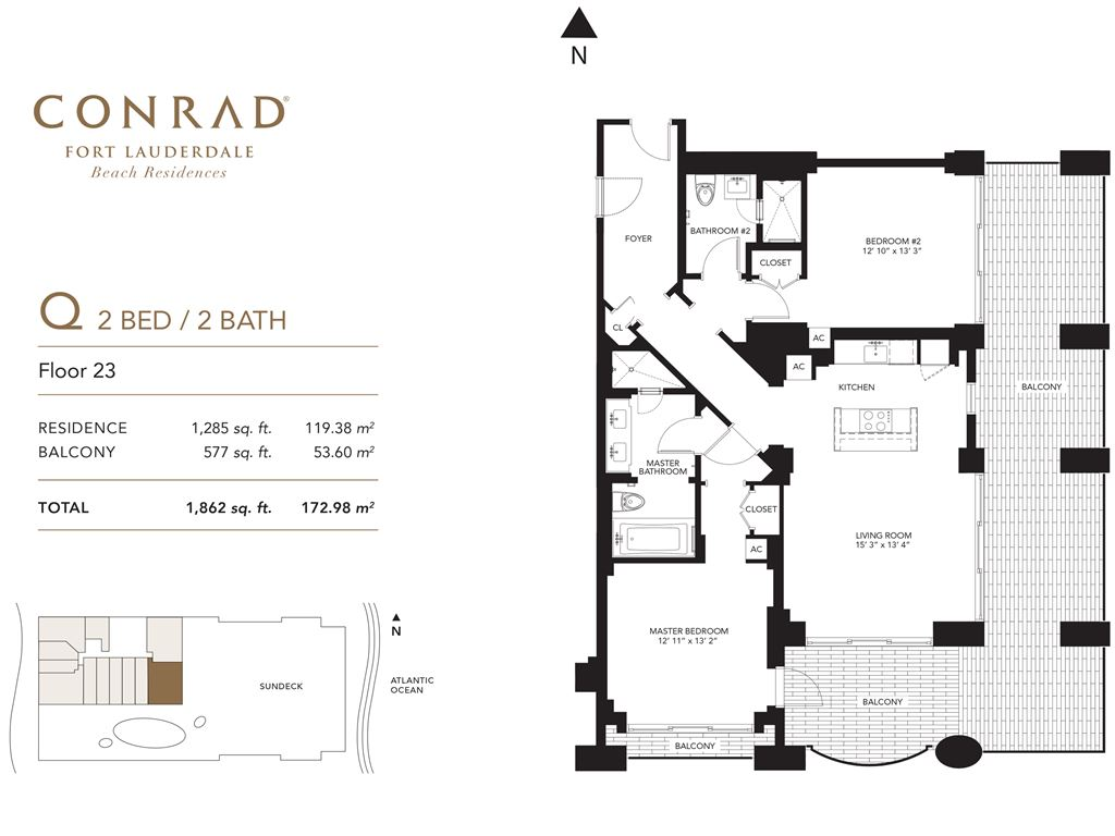 Conrad Fort Lauderdale Beach Residences - Unit #Q Floor 23 with 1285 SF
