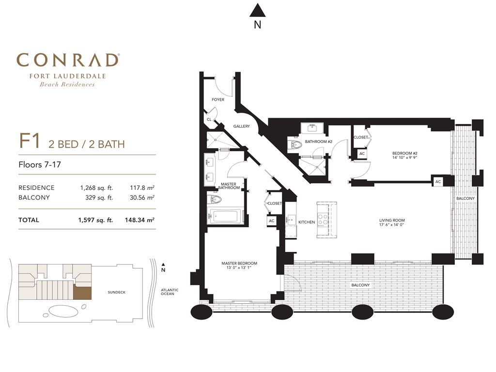 Conrad Fort Lauderdale Beach Residences - Unit #F1 Floors 7-17 with 1260 SF