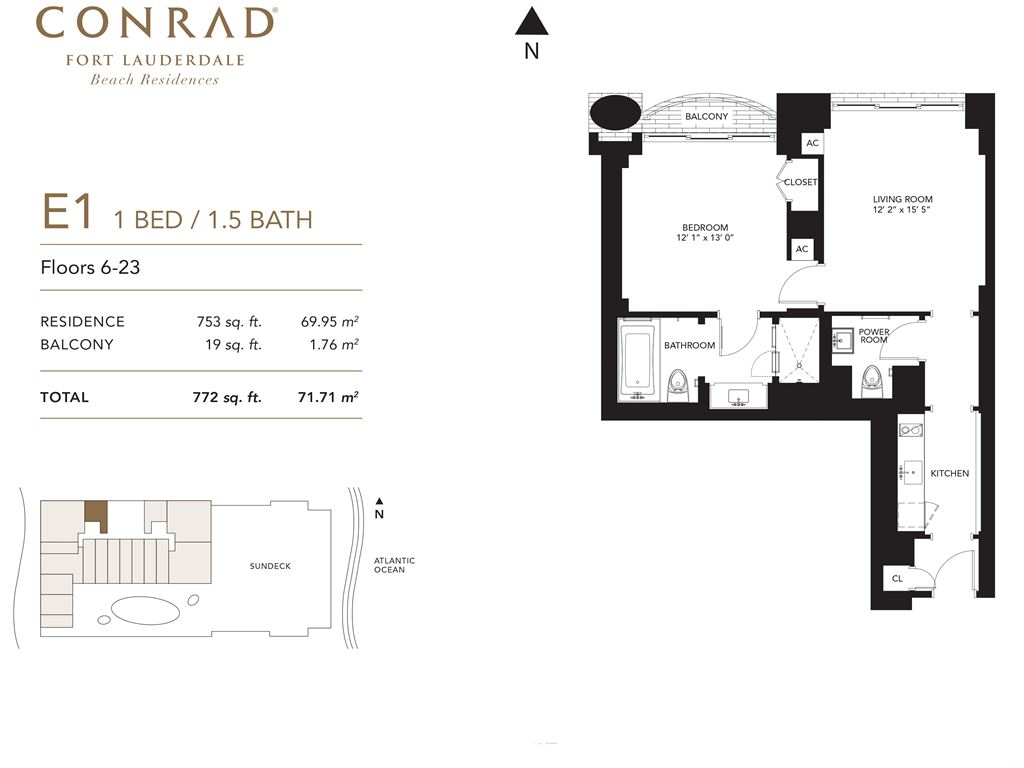 Conrad Fort Lauderdale Beach Residences - Unit #E1 Floors 6-23 with 753 SF
