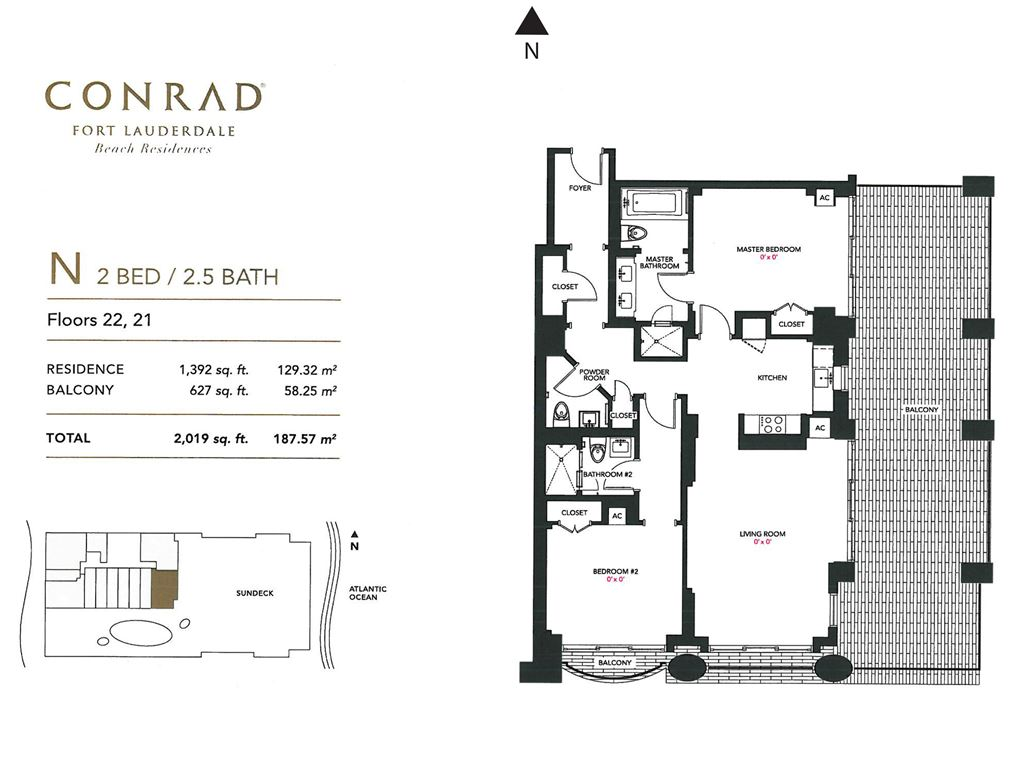 Conrad Fort Lauderdale Beach Residences - Unit #N Floors 22,21 with 1392 SF