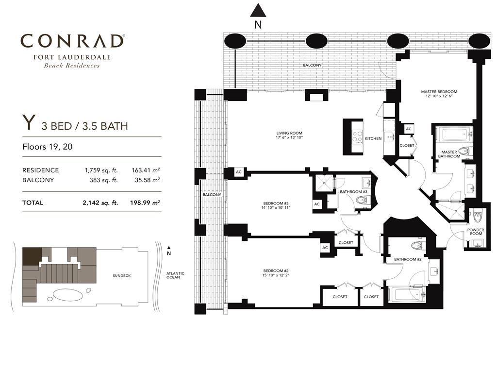 Conrad Fort Lauderdale Beach Residences - Unit #Y Floors 19-20 with 1759 SF