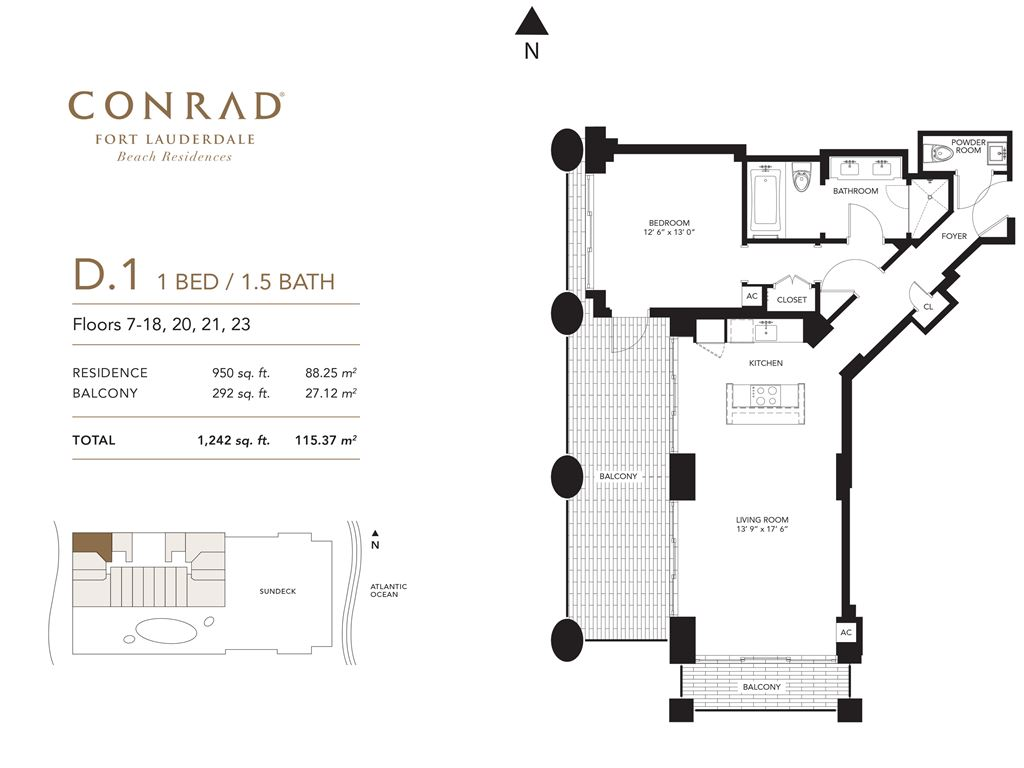 Conrad Fort Lauderdale Beach Residences - Unit #D1 Floors 7-18, 20, 21, 23 with 950 SF