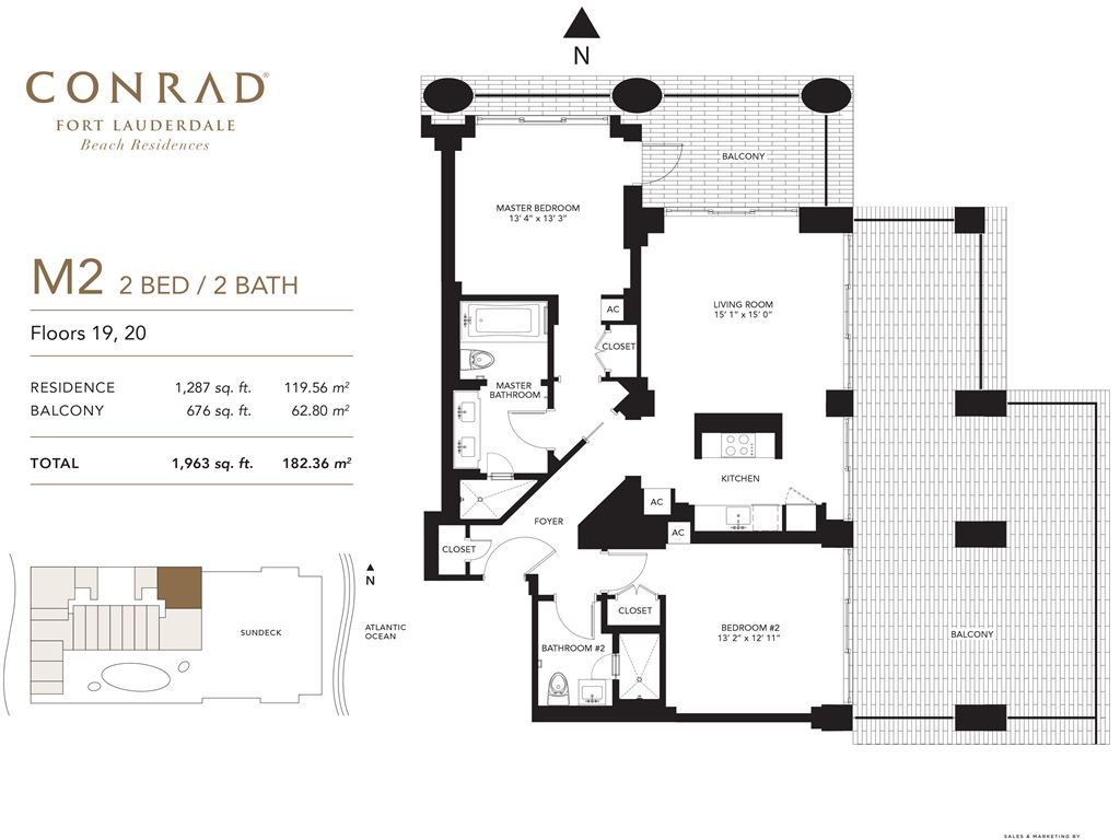 Conrad Fort Lauderdale Beach Residences - Unit #M2 Floors 19,20 with 1287 SF