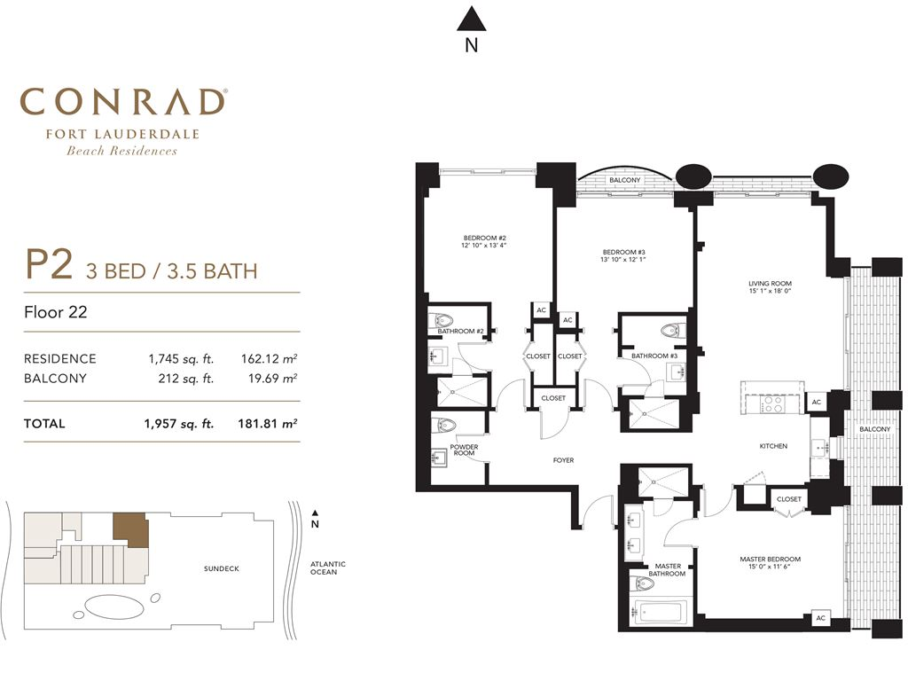 Conrad Fort Lauderdale Beach Residences - Unit #P2 Floor 22 with 1745 SF