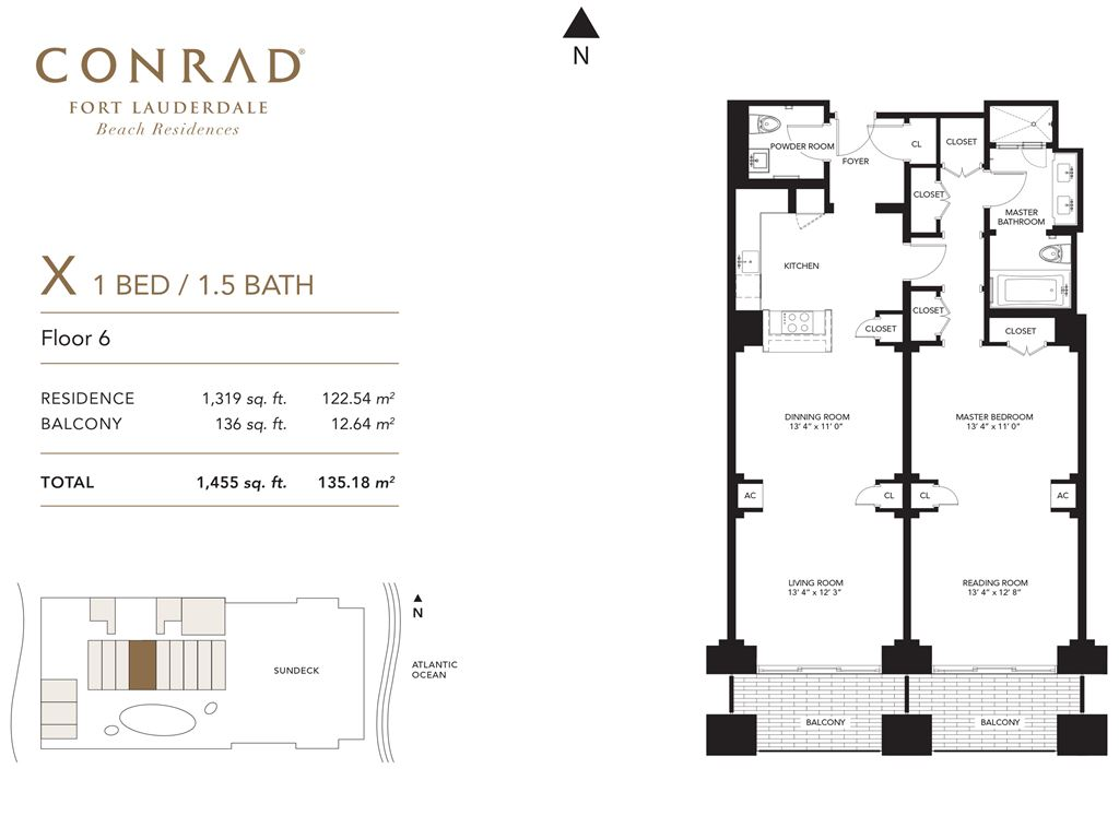 Conrad Fort Lauderdale Beach Residences - Unit #X Floor 6 with 1319 SF