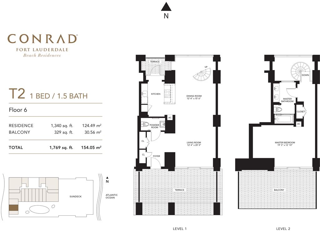 Conrad Fort Lauderdale Beach Residences - Unit #T2 Floor 6 with 1340 SF