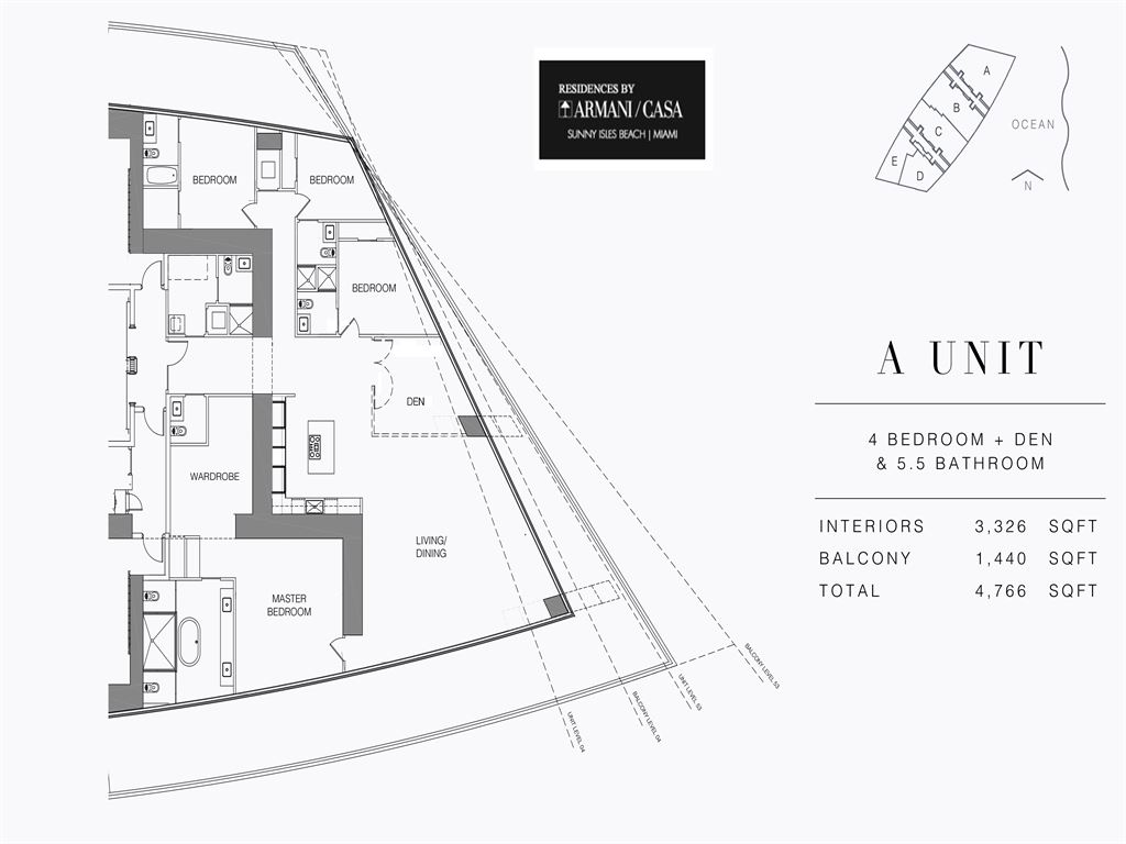 Residences by Armani Casa - Unit #00-A - Level 4 with 3326 SF