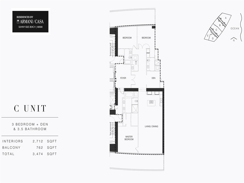 Residences by Armani Casa - Unit #03-C - Level 28 with 2712  SF