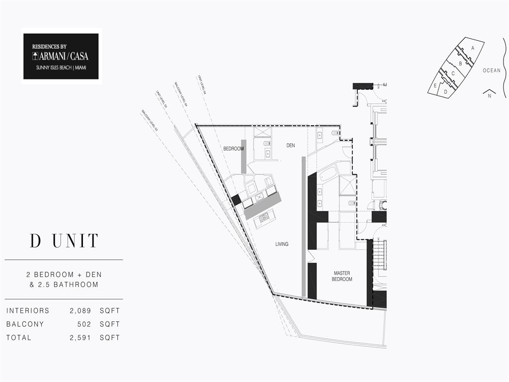Residences by Armani Casa - Unit #04-D - Level 54 with 2089  SF
