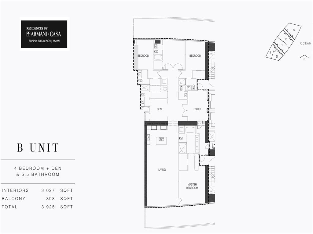 Residences by Armani Casa - Unit #02-B - Level 28 with 3027  SF