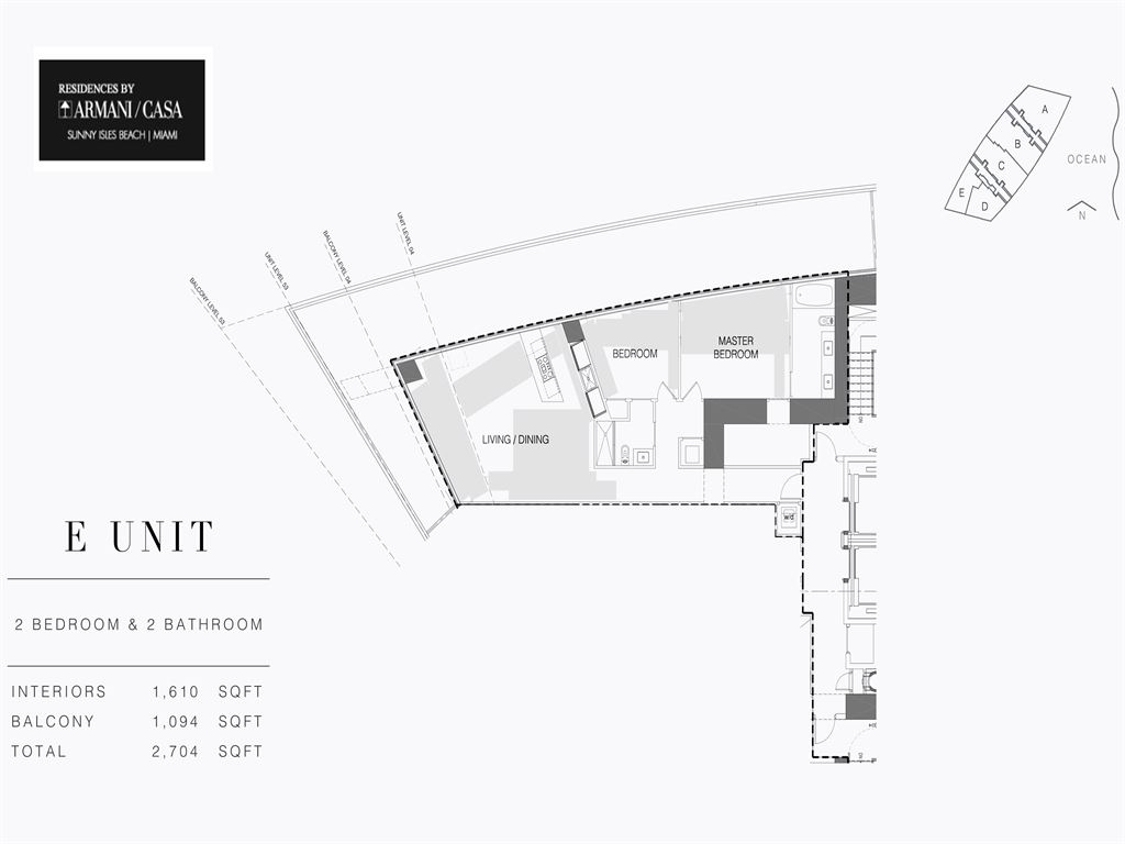 Residences by Armani Casa - Unit #05-E - Level 54 with 1610  SF