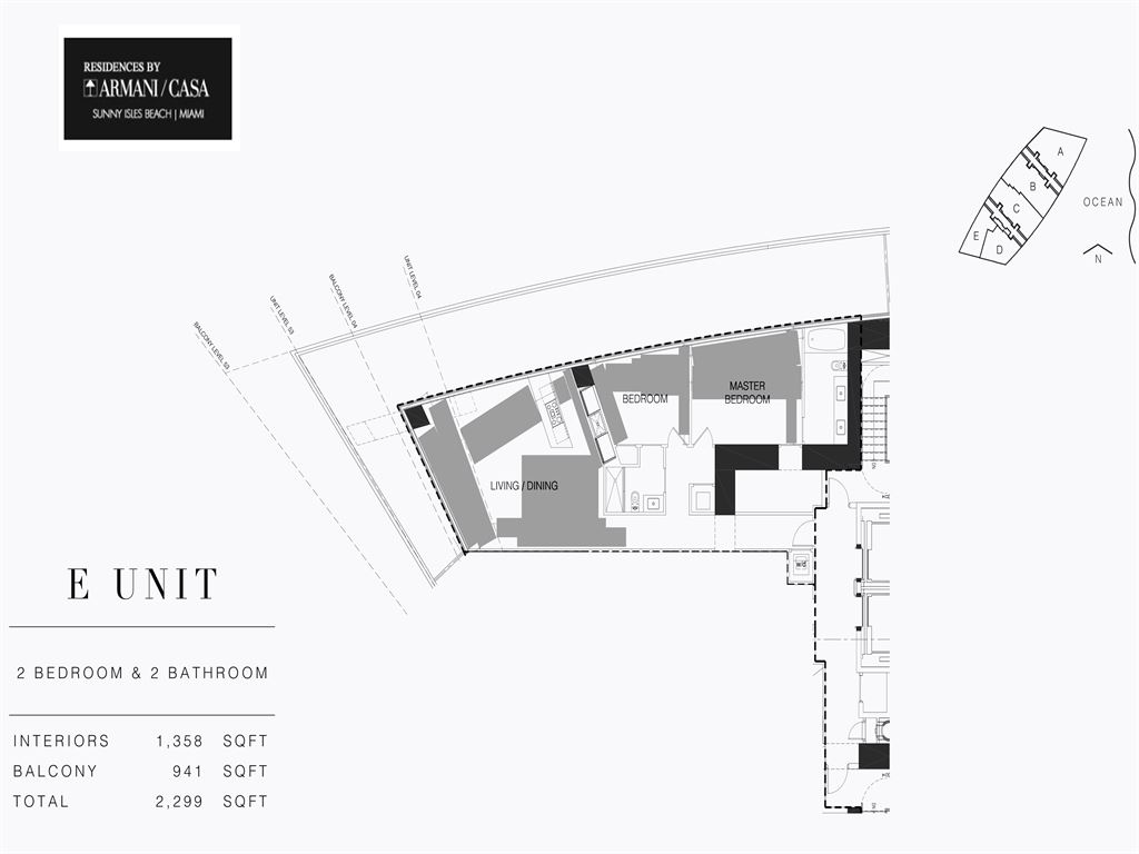 Residences by Armani Casa - Unit #05-E - Level 4 with 1358  SF