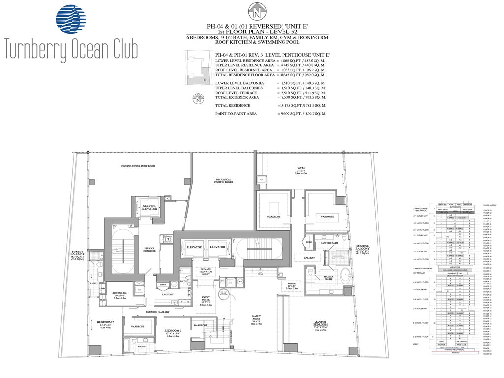 Turnberry Ocean Club - Unit #PH-04&01 - 1st Floor of PH with 4865 SF