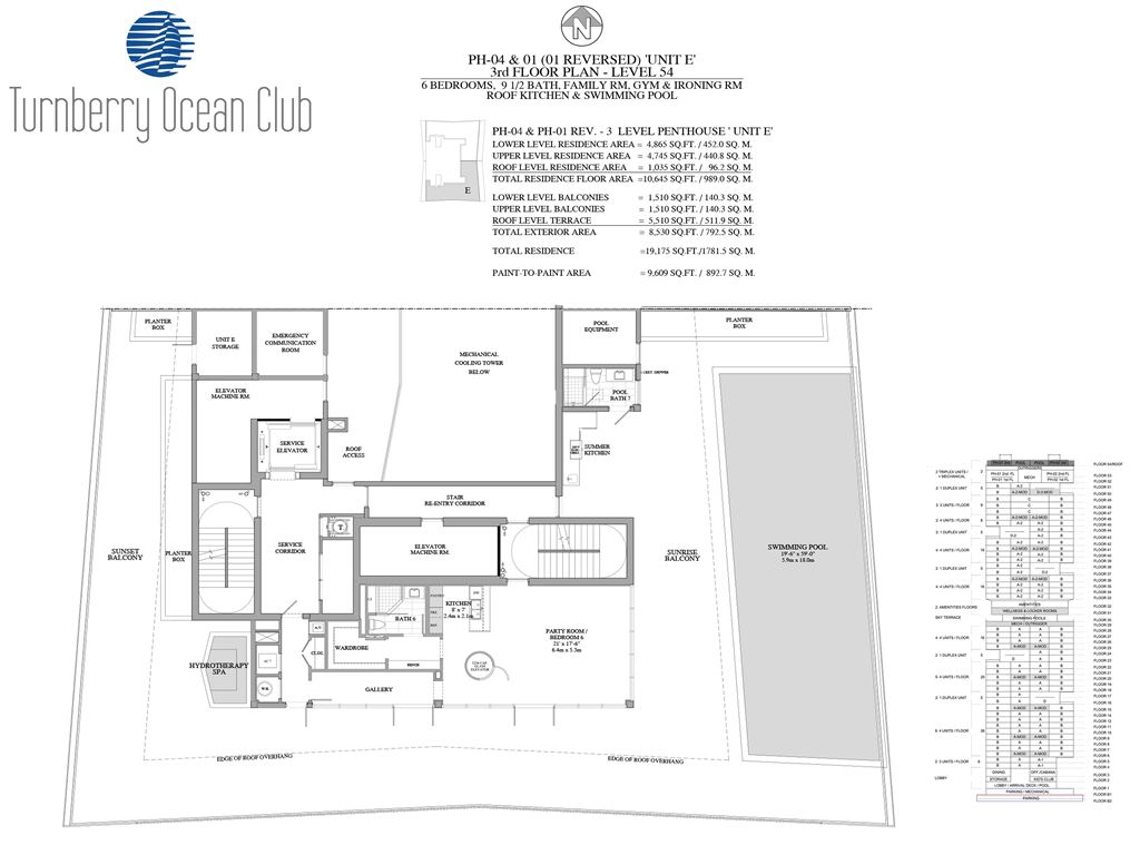 Turnberry Ocean Club - Unit #PH-04&01 - 3rd Floor of PH with 1035 SF