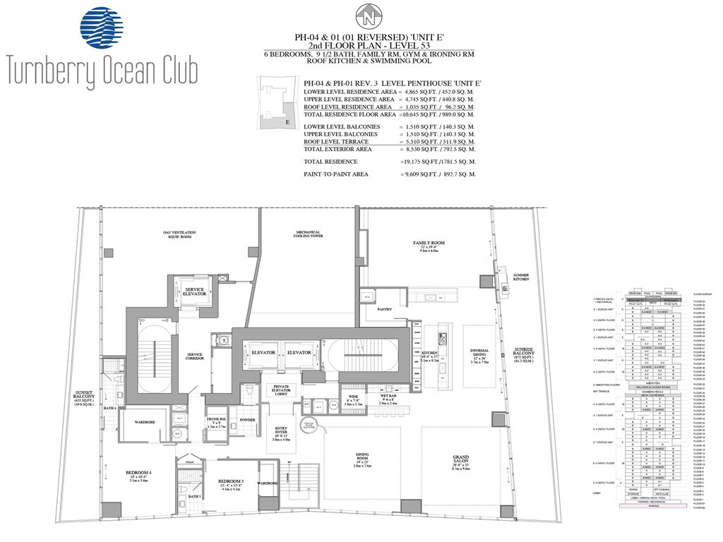 Turnberry Ocean Club - Unit #PH-04&01 - 2nd Floor of PH with 4745 SF