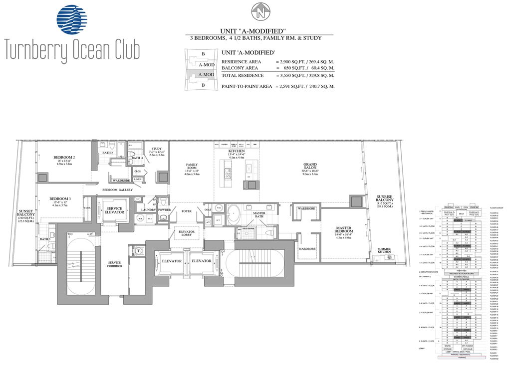 Turnberry Ocean Club - Unit #02-A-Modified  with 2900 SF