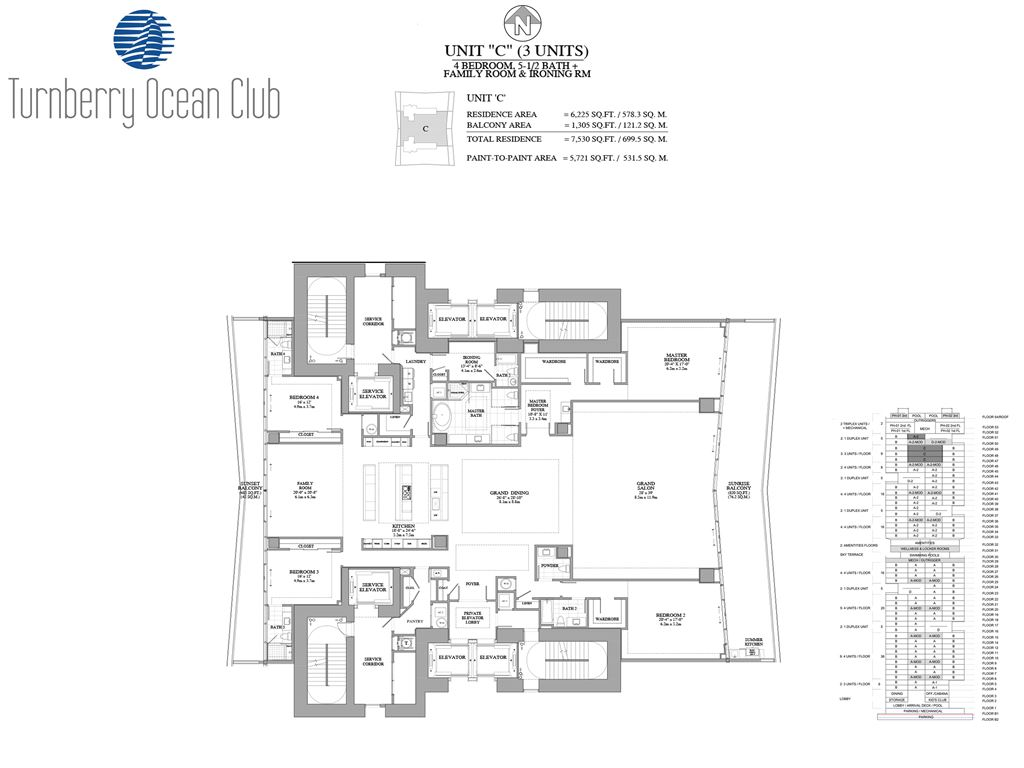 Turnberry Ocean Club - Unit #01-C with 6225 SF
