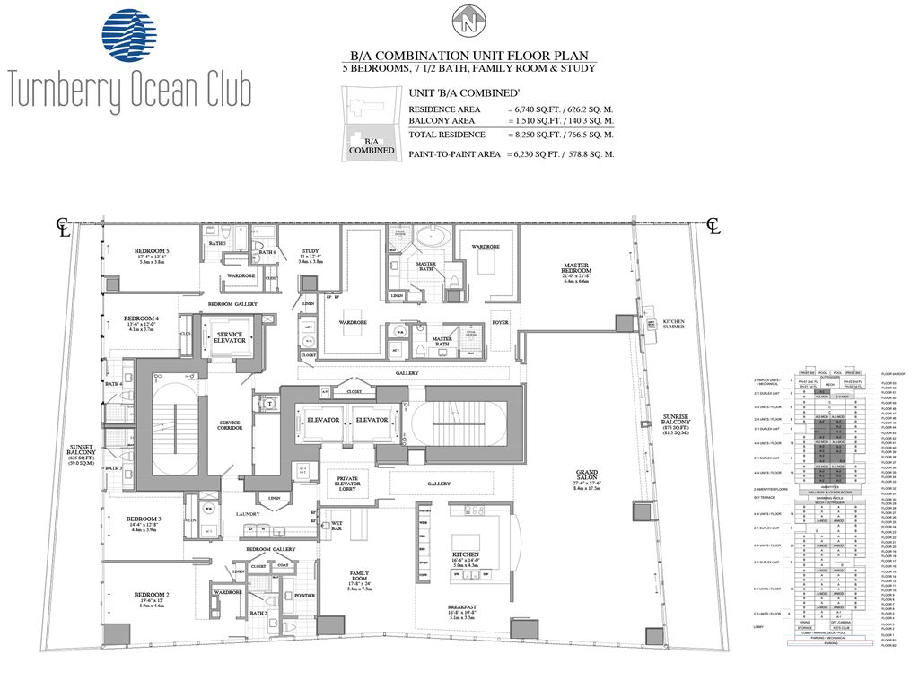 Turnberry Ocean Club - Unit #01-B/A - Combo with 6740 SF