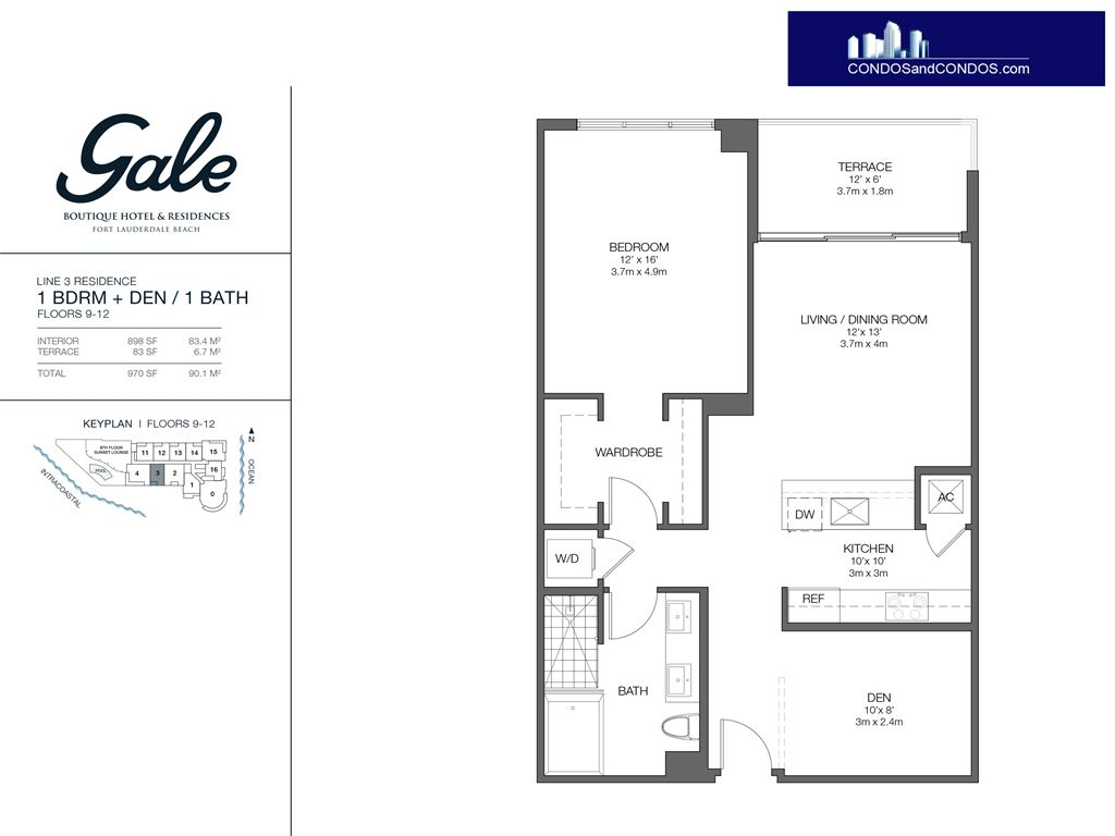 Gale Condo Residences - Unit #3 Floors 9-12 with 970 SF