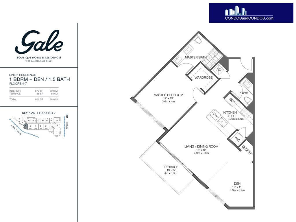 Gale Condo Residences - Unit #6 Floors 4-7 with 956 SF