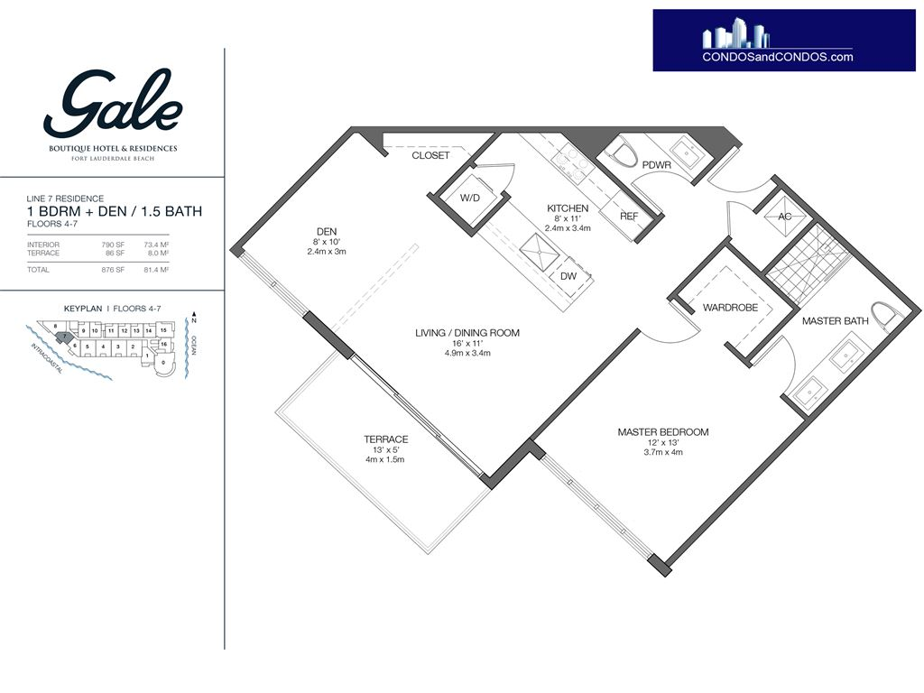 Gale Condo Residences - Unit #7 Floors 4-7 with 876 SF