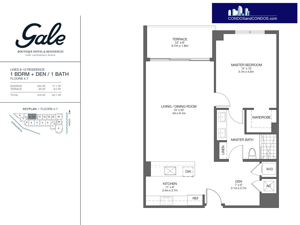 Gale Condo Residences - Unit #9-10 Floors 4-7 with 916 SF