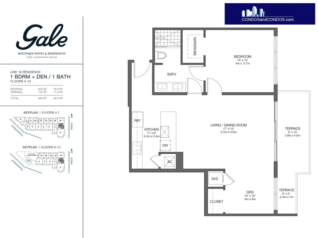 Gale Condo Residences - Unit #16 Floors 4-12 with 965 SF