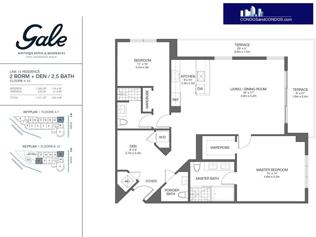 Gale Condo Residences - Unit #15 Floors 4-12 with 1511 SF