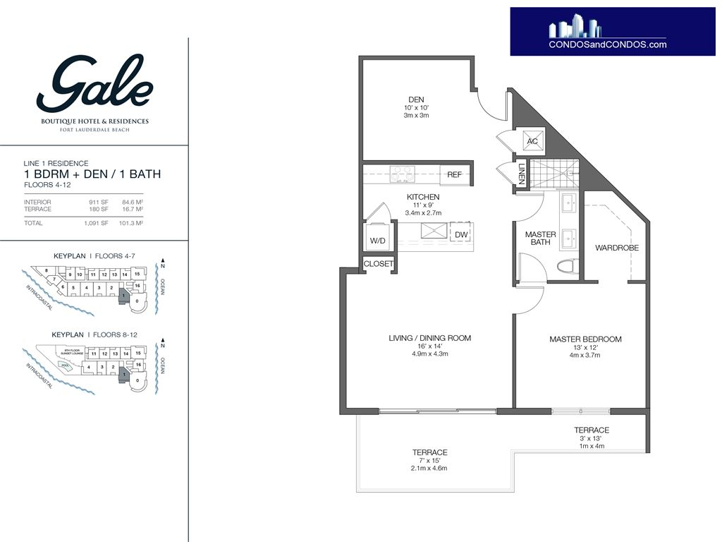 Gale Condo Residences - Unit #1 Floors 4-12 with 1091 SF