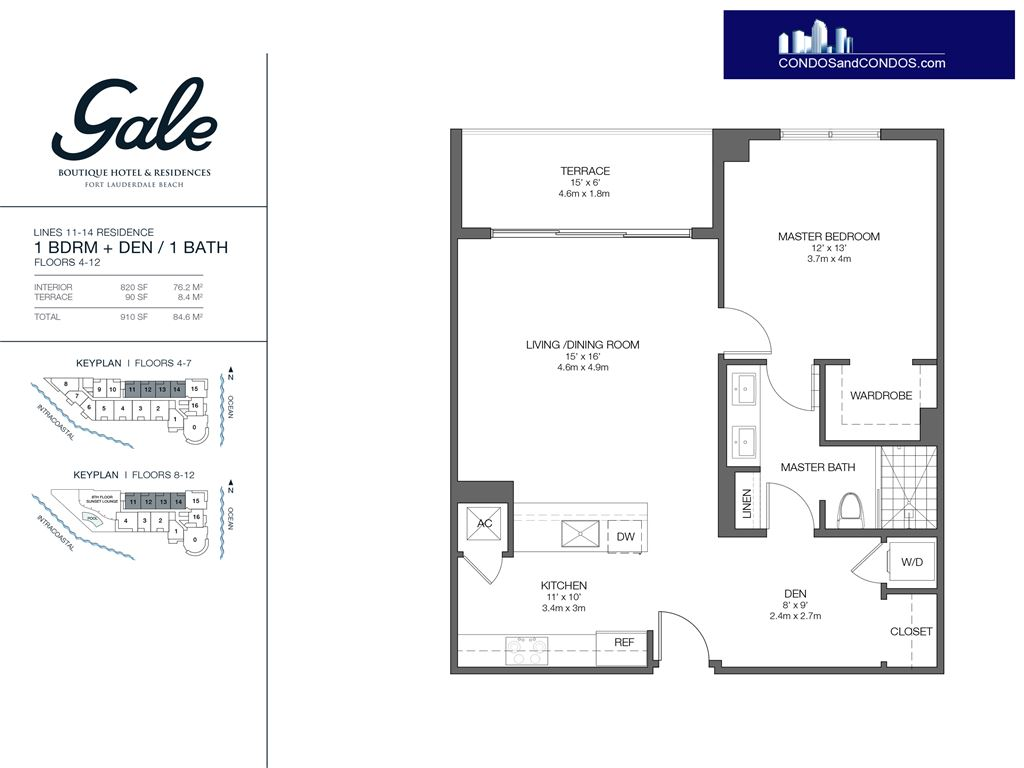 Gale Condo Residences - Unit #11-14 Floors 4-12 with 910 SF
